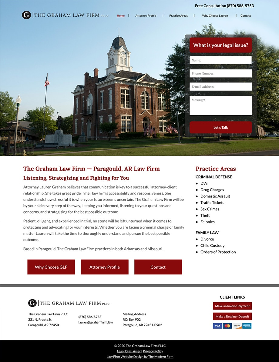 Law Firm Website Design for The Graham Law Firm PLLC