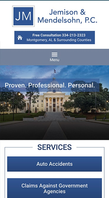Responsive Mobile Attorney Website for Jemison & Mendelsohn