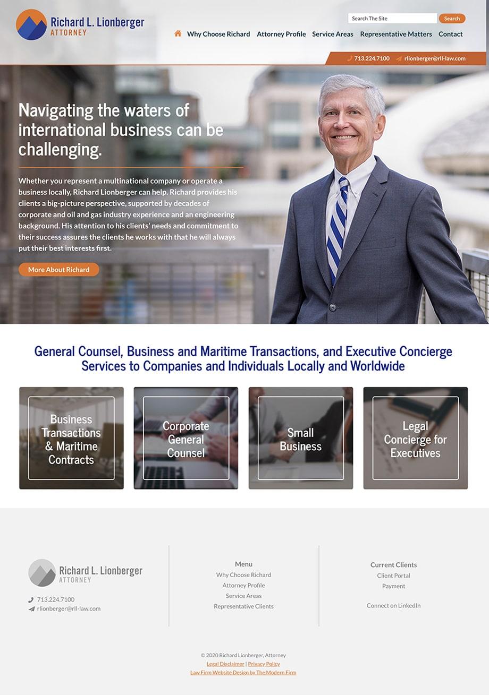 Law Firm Website Design for Richard Lionberger, Attorney