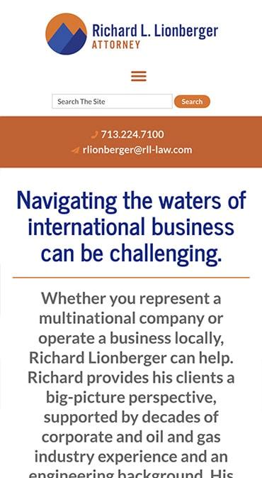 Mobile Friendly Law Firm Webiste for Richard Lionberger, Attorney
