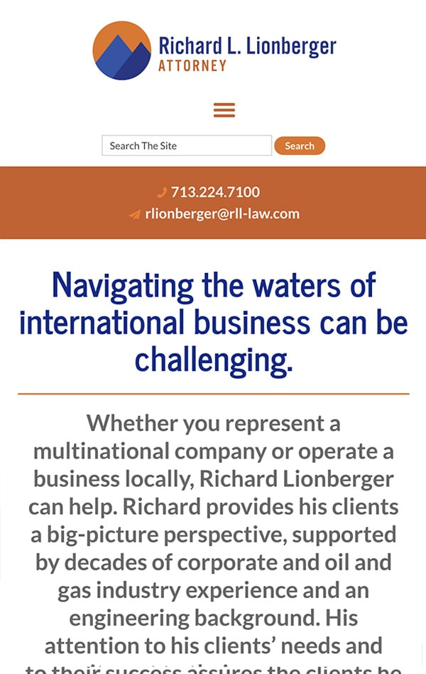 Responsive Mobile Attorney Website for Richard Lionberger, Attorney