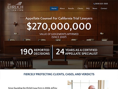 Law Firm Website design for Ehrlich Law Firm