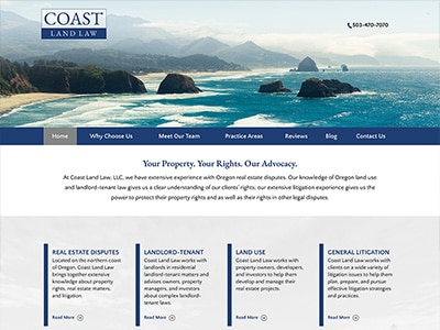 Law Firm Website design for Coast Land Law, LLC