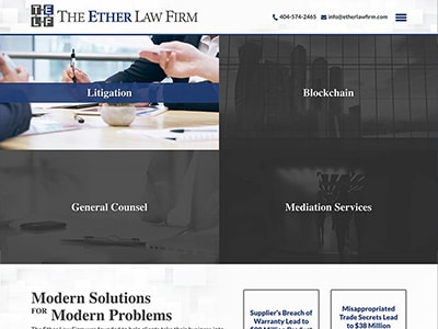 Law Firm Website design for The Ether Law Firm, LLC